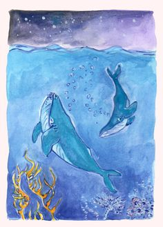 Watercolor art for download - print at home and frame for your child's bedroom or as a gift. Order though Etsy, link here Watercolor Whale, Watercolor And Ink, Kids Rooms, Kids Bedroom, Visit South Africa, Humpback Whale, Ink Illustrations, Nurseries, Underwater