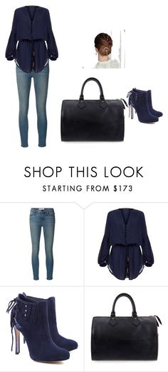 """Untitled #43"" by brandy-carringer ❤ liked on Polyvore featuring Frame Denim, ViX, Schutz and Louis Vuitton"