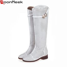 96.30$  Watch now - http://ali9w5.worldwells.pw/go.php?t=32332487484 - 2016 brand summer autumn knee high boots fashion women's fashion motorcycle summer microfiber leather boots gladiator shoes