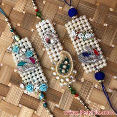 Set Of 3 Designer Rakhis Beaded Jewellery, Diy Jewelry, Jewelry Design, Beaded Bracelets, Quilling Rakhi, Happy Raksha Bandhan Wishes, Send Rakhi To India, Buy Rakhi Online, Rakhi Making