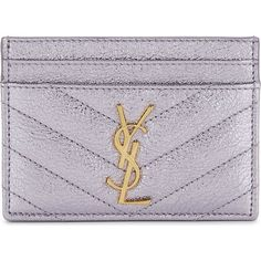 Saint Laurent Monogram metallic quilted leather card holder (€260) ❤ liked on Polyvore featuring bags, wallets, yves saint laurent wallet, handbags totes, quilted tote bags, monogram tote and pocket wallet