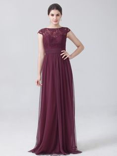 Tulle Lace Dress with Cap Sleeves; Color: Burgundy; Fabric: Tulle, Chiffon, Lace