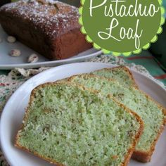 Pistachio Loaf: 1 box white cake mix  1 3.4 oz. box pistachio pudding  1/4 cup white sugar  1/2 cup oil  1/2 cup cold water  1 cup sour cream  4 eggs  1/2 cup chopped nuts Bake at 350 for 45-50 minutes