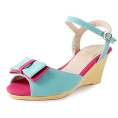 Suede Women's Wedge Heel Sling Back Sandals With Bowknot Shoes(More Colors) - USD $ 24.99