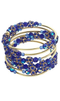 Memory Wire Bracelet with Celestial Crystal® Beads, Gold-Plated Rhinestone Beads and Stainless Steel Memory Wire