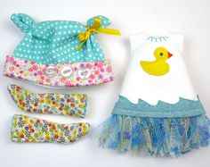 Lati Yellow Doll Clothes Aqua and White Rubber by DollProject, $50.00