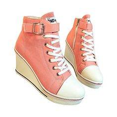 Women's Canvas High-Heeled Platform Wedge Fashion Sneaker Pump Shoes Pink Label 37 - US 6.5