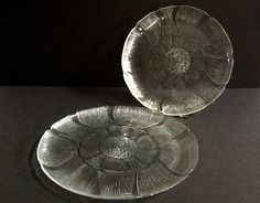 Arcoroc Fleur Pressed Glass Plates, Set of 2, Raised Petal Leaves, 1 Torte and 1 Large Dinner Plate by GentlyKept on Etsy