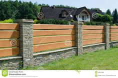 Fence - wood and stone