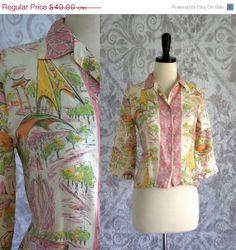 1960s Printed European Cropped Silk Blouse $32.00