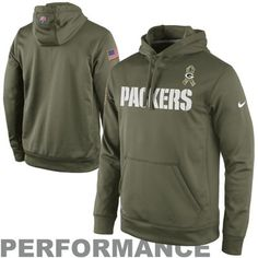 Nike Green Bay Packers Salute to Service KO Pullover Performance Hoodie - Olive