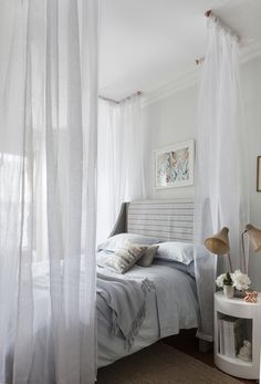 Canopy bed DIY with chiffon fabric and copper tubing. Beautiful! ------ thin seperation between that and living room! feel seperation without it being weird or making the space feel small.