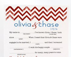 Chevron Wedding Mad Libs PDF FILE Print Yourself by camispaperie, $25.00
