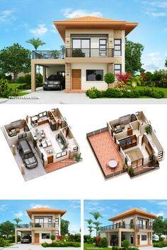 House Floor Design, Two Story House Design, 2 Storey House Design, Village House Design, Home Design Floor Plans, Home Building Design, Bungalow House Design, Two Storey House Plans, Minimal House Design