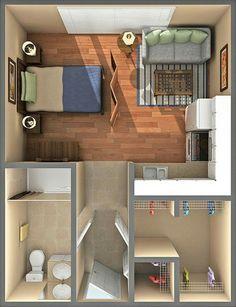 Small Studio Apartment Layout Design Ideas – home design - Modern Studio Apartment Floor Plans, Studio Apartment Layout, Small Studio Apartments, Studio Apartment Decorating, Tiny Studio, Apartment Decoration, Small Apartment Layout, Studio Layout, Studio Studio