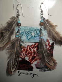 "Feather Earrings: ""Owl's Wisdom"""