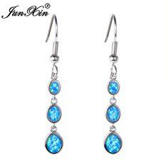 JUNXIN Bohemian Blue & White Fire Opal Earring Long Dangle Earrings 925 Sterling Silver Filled Double Earrings For Women