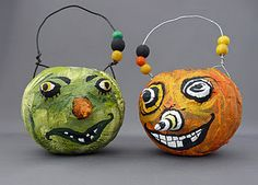 Papier mache pumpkins.....great site for art projects! Check it out.