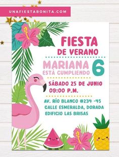 Tropical flamenco and pineapple summer invitation, pineapple, flamenco, tropical and summer themed i Flamingo Party, Flamingo Rosa, Flamingo Birthday, Aloha Party, Luau Party, Baby Showers, Party Invitations, Party Time, Theme Parties