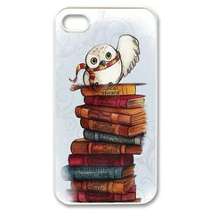Harry Potter's Owl Hedwig and Books Printed Case. Durable Quality Hard Case Easy Access to Ports Available for iPhone  4 4S 5 5S 5C 6 6S Plus iPod Touch 5