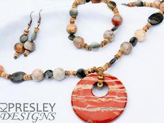 Red Banded Agate & Green Opal Jewelry Set by KJPresley Designs  http://www.kjpresleydesigns.com/ #jewelry #necklace #bracelet #earrings @KJPresleyDesgns