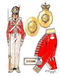 40th  (2nd Somersetshire) Regiment of Foot- 1st  Battalion on the American coast from January to March 1815. At New Orleans but not engaged. Pale buff facings, gold buttons for officers, no lace. Men's lace square ended with a red and black line. When they sailed for North America, the 40th received militia knapsacks, which they had no time to  modify or repaint. Grenadier officers had scarlet wings laced gold and edged with buff with a silver grenade on the strap and a silver Sphinx.