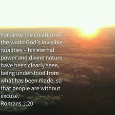 For since the creation of the world God's invisible qualities – his eternal power and divine nature – have been clearly seen, being understood from what has been made, so that people are without excuse.  Romans 1:20 NIVUK