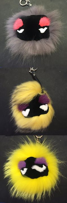Real Raccoon Fox Fur Monster Keychain Pom Pom Charm Fur Bag Pendant Doll Ball Bag Car Big size Mink Fur CF233