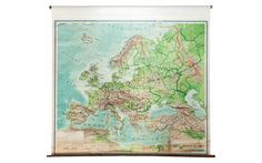 Vintage Pull Down Map of Europe - Old New House® Pull Down Map, Directional Signage, Map Globe, Old And New, 1930s, Vintage World Maps, New Homes, Physical Environment, Europe