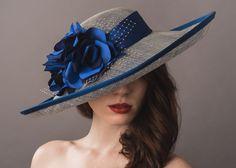 Elizabeth Rose Sinamay wide brim hat with an upturned brim decorated with three silk dupion roses www.natashamoorhouse.com