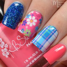 KBShimmer Teal Pink Plaid Floral Water Slide Decals