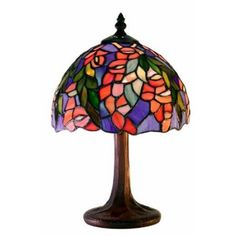 Warehouse of Tiffany M23-SB21 Tiffany-style Floral Table Lamp Red/Blue