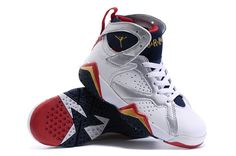 watch 6df85 98409 New Nike Air Jordan 7 VII Retro Kids Shoes White Blue Red Kids Jordans, Nike