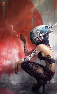 lady by ~MikaelWang on deviantART - Writing inspiration #nanowrimo #scifi #cyberpunk