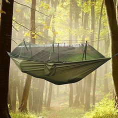 Travel Camping Hammock Camping Hammock - Lightweight Portable Strength Parachute Nylon Fabric Hammock With Mosquito Net for Backpacking, Travel, Beach, Yard. Hammock Straps Included ... (Army Green) *** Read more at the image link.