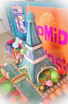 DoMiDoMi Golosinas: Tarta de Chuches París Gomi Gomi, Candy Cakes, Candy Bouquet, Marshmallow, Ladybug, Lunch Box, Sweet Tables, Painting, Buffets