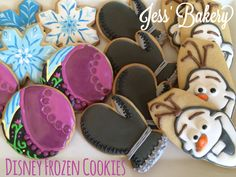 Frozen themed sugar cookies with royal icing; Elsa's snowflake, Anna's dress, Kristoff's mitten and Olaf.