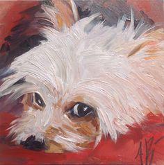 """Red dog bed"" original fine art by Annette Balesteri"
