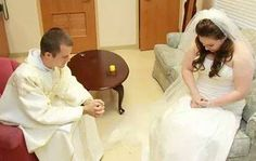 Bride and Priest Praying...