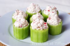 cucumber cups stuffed with salmon cream cheese