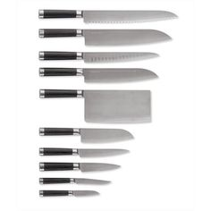 Michel Bras 10-Piece Knife Set ($3,080) ❤ liked on Polyvore featuring home, kitchen & dining, cutlery, kitchen, black chef knives, chef knife set, chef cutlery, black knife set and slicing knives