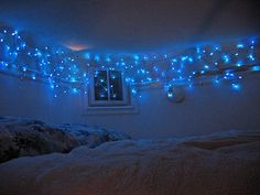 Creative home decorating ideas with Christmas lights add great lighting designs to your outdoor rooms and interiors, creating festive and beautiful look all year around Hanging Christmas Lights, Decorating With Christmas Lights, Hanging Lights, Christmas Decorations, Cubicle Decorations, Light Decorations, Blue Bedroom, Dream Bedroom, Girls Bedroom
