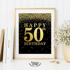 Happy 50th Birthday sign in gold lettering with gold falling confetti. Comes with two Versions: 1) White and gold 2) Black and gold ● This is a