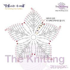 별가사리 수세미 도안 : 네이버 블로그 Crochet Snowflake Pattern, Crochet Coaster Pattern, Crochet Motif Patterns, Crochet Stars, Crochet Circles, Form Crochet, Crochet Cross, Crochet Snowflakes, Crochet Doilies