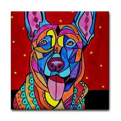 Belgian Malinois art Tile Ceramic Coaster Mexican Folk Art Print of painting by Heather Galler Dog