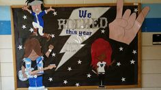 End of the year/ Count down  Rock n Roll bulletin board (I recycled some of my classroom decorations from my rock n roll theme year)