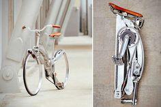 Sada Collapsible Bike - http://www.sadabike.it/en and http://hiconsumption.com/2014/05/sada-collapsible-bike/