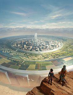 By artist Rob Joseph. Cinema Gorgeous Fantasy City, Fantasy Places, Sci Fi Fantasy, Fantasy World, Futuristic City, Futuristic Architecture, Sci Fi Stadt, Science Fiction Kunst, Rpg Map