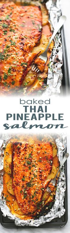 Thai Pineapple Salmon in Foil is a delicious, easy, meal burstin. -Baked Thai Pineapple Salmon in Foil is a delicious, easy, meal burstin. Fish Dinner, Seafood Dinner, Fish And Seafood, Keto Dinner, Pineapple Salmon, Pineapple Recipes, Baked Pineapple, Jalapeno Recipes, Pineapple Slices