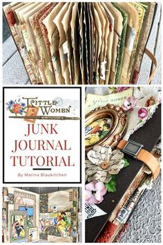 Learn How to Create a DIY Junk Journal Tutorial Products By Graphic 45 collection Little Women By Marina Blaukitchen Graphic 45, Handmade Journals, Handmade Books, Handmade Rugs, Handmade Crafts, Fabric Journals, Art Journals, Junk Journal, Journal Cards